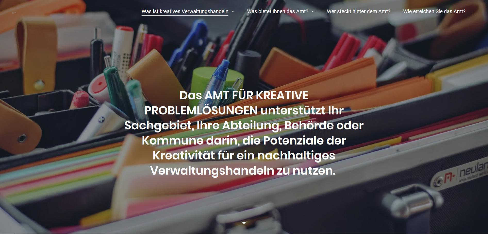 Screenshot der Website für das Amt für unlösbare Aufgaben