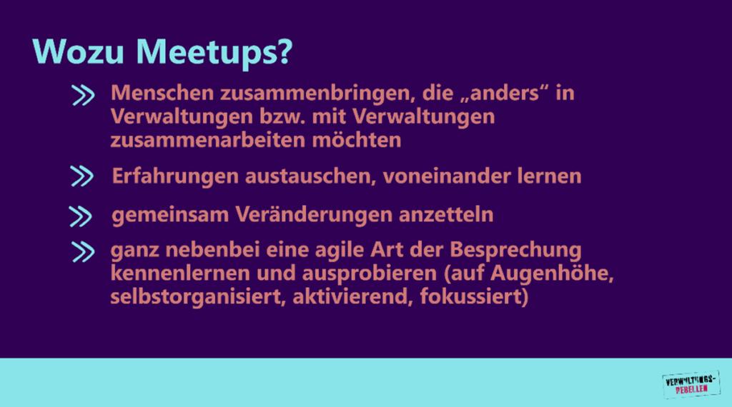 Ziele der Meetups (wie im Text beschrieben)
